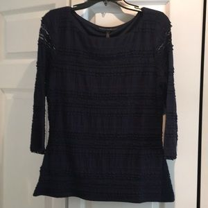 Beautiful navy lace WHBM 3/4 sleeve top.
